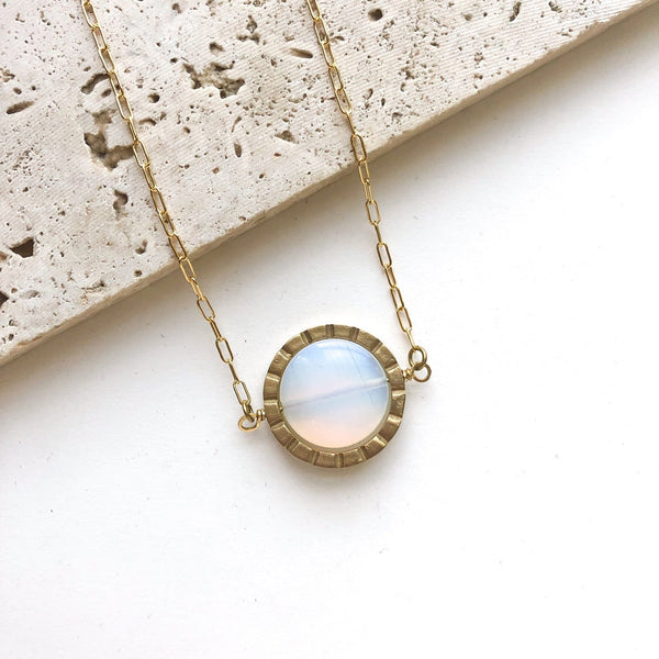 Notch Spinner Necklace / Opalite - Michelle Starbuck Designs
