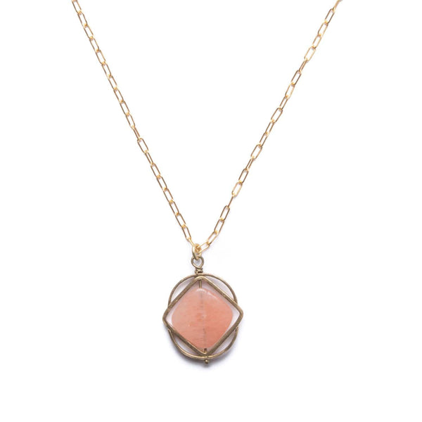Vertex Necklace / Peach Aventurine - Michelle Starbuck Designs