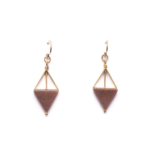 Double Triangle Earrings / Pink Marble - Michelle Starbuck Designs