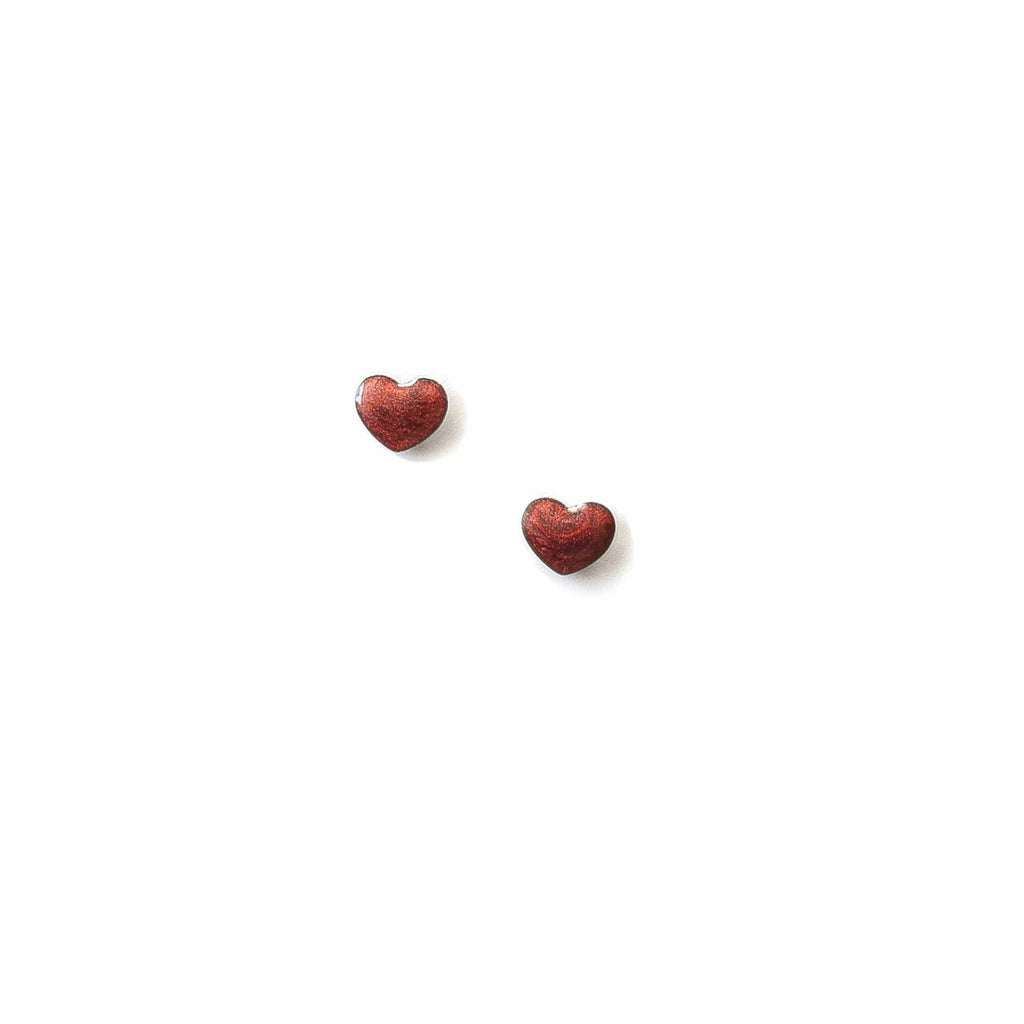 Vintage Red Enamel Heart Studs - Michelle Starbuck Designs