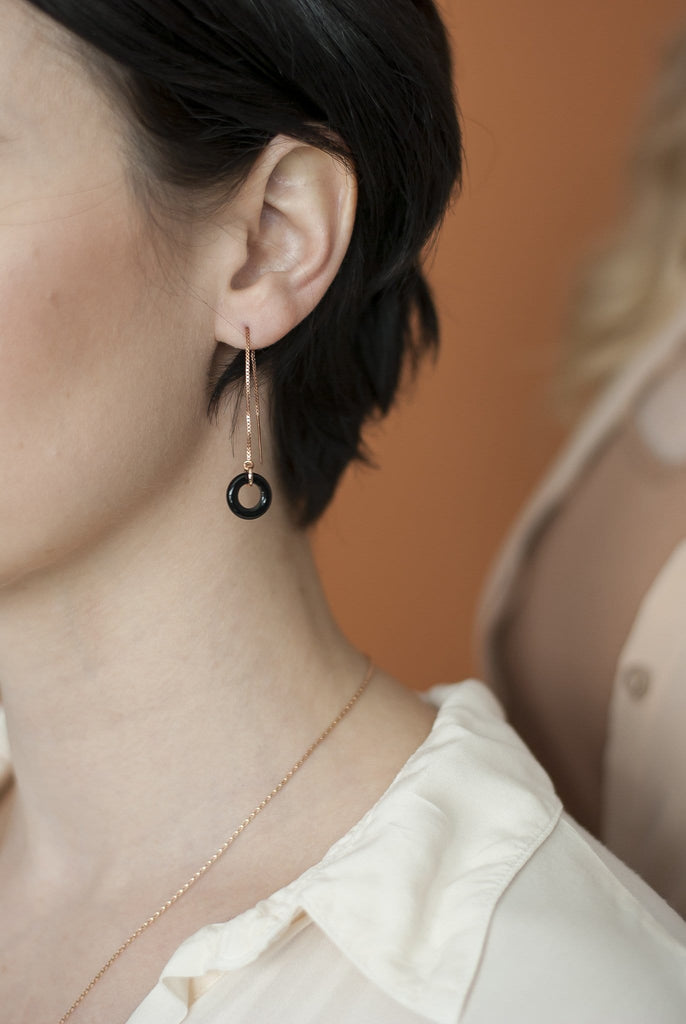 Loop Threader Earrings/ Black Agate and Rose Gold - Michelle Starbuck Designs