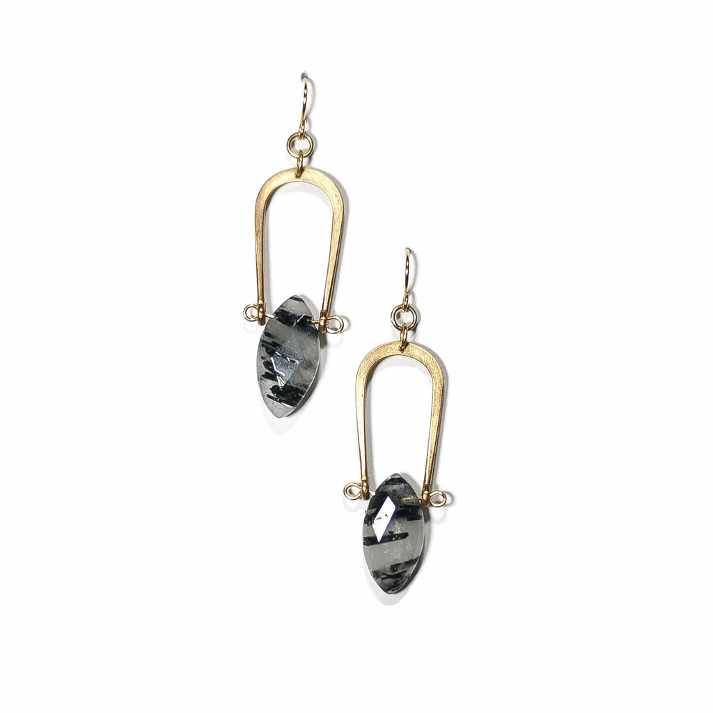 Amulet Earrings / Tourmalated Quartz