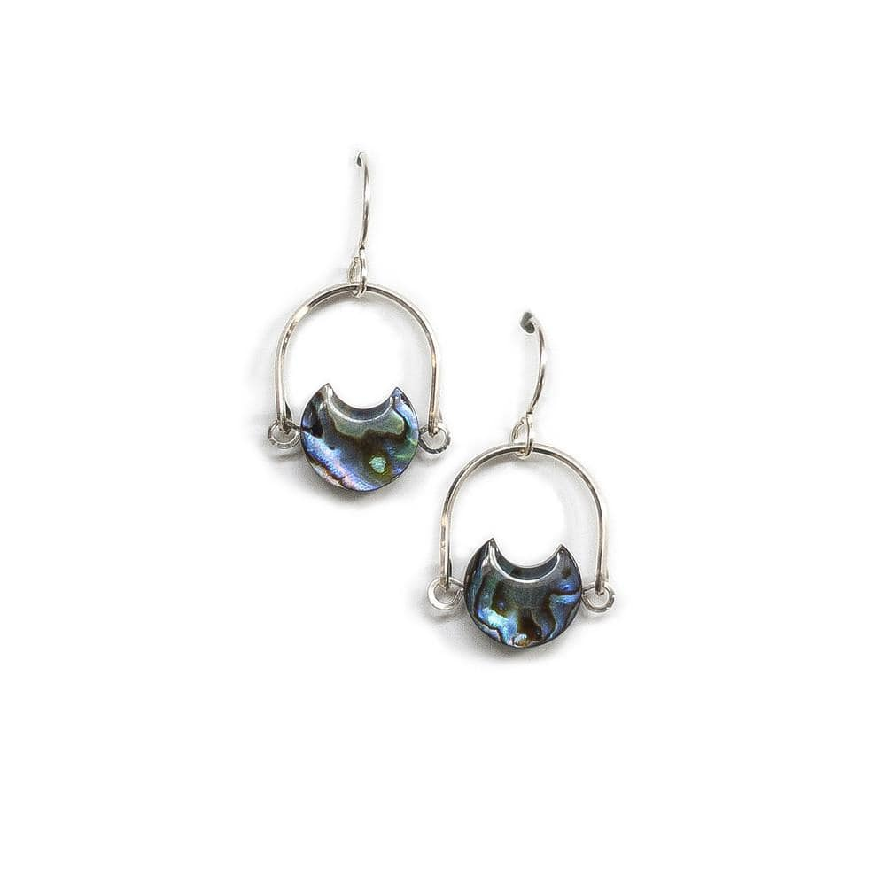 Mini Eclipse Earrings / Abalone with Sterling Silver - Michelle Starbuck Designs