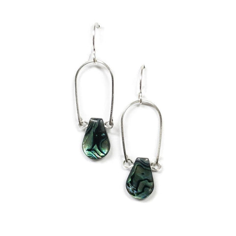 Abalone Teardrop Earrings / Sterling Silver