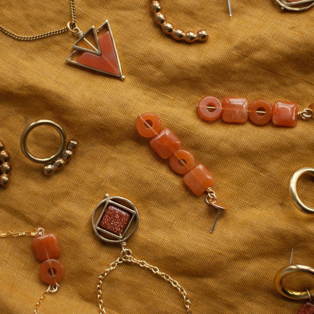 Element Earrings / Red Aventurine - Michelle Starbuck Designs