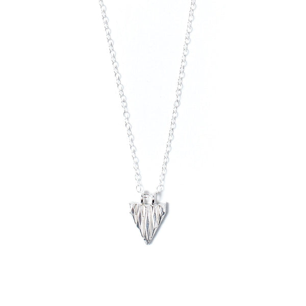 Sterling Silver Faceted Triangle Necklace