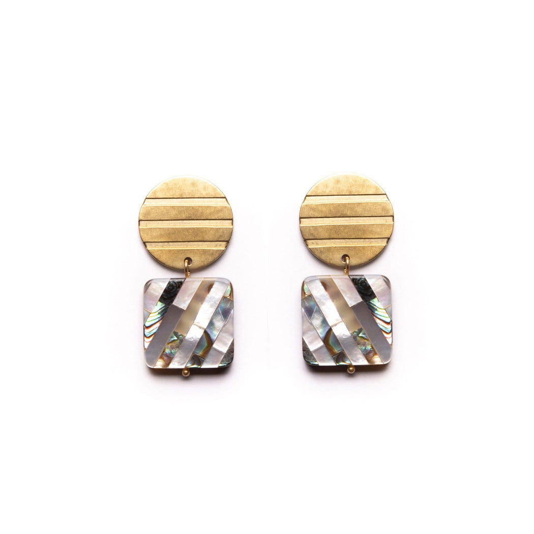 Striped Shapes Earrings / Shell - Michelle Starbuck Designs