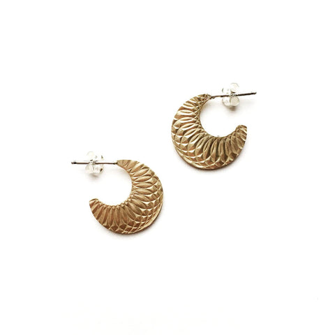 Textured Moon Hoops