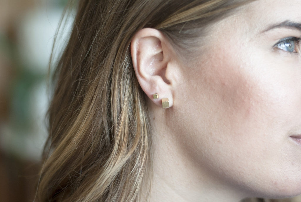 Tiny Cube Studs - Michelle Starbuck Designs
