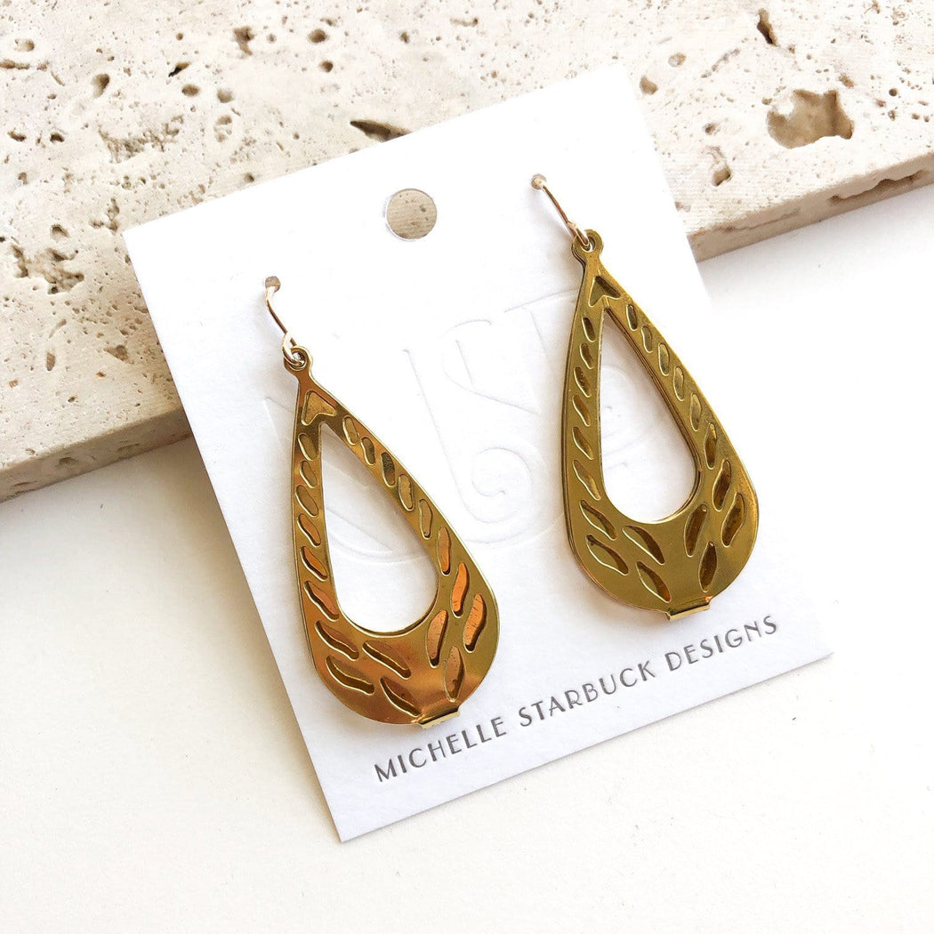 Vintage Brass Teardrop Earrings - Michelle Starbuck Designs