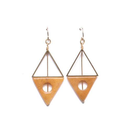XL Double Triangle Earrings / Yellow Quartz