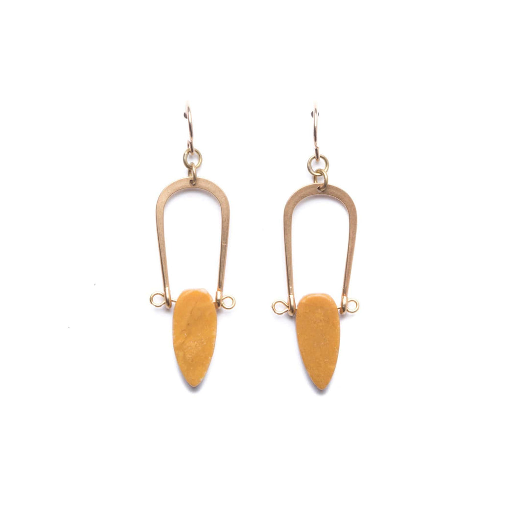 Amulet Earrings / Yellow Jasper - Michelle Starbuck Designs