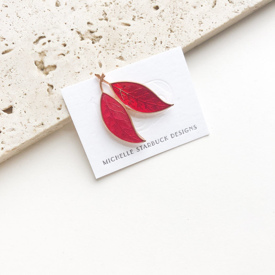 Resin Leaves Pin / Magenta + Ruby - Michelle Starbuck Designs