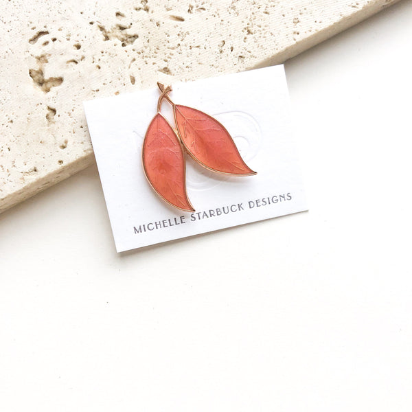 Resin Leaves Pin / Coral + Coral - Michelle Starbuck Designs