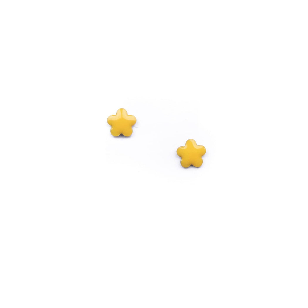 Vintage Enamel Yellow Flower Studs