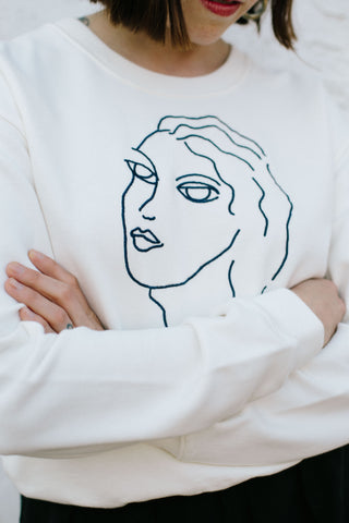 Guiri Embroidered Faces Sweatshirt
