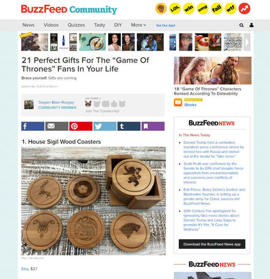 Game Of Thrones Coasters Featured On Buzzfeed