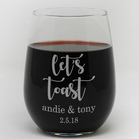 Lets toast personalized wine glass