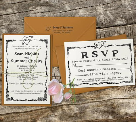 Rustic Heart Wedding Invitation Stamp Set