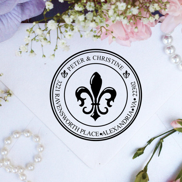 "Return Address Stamp ""Fleur de Lys"""