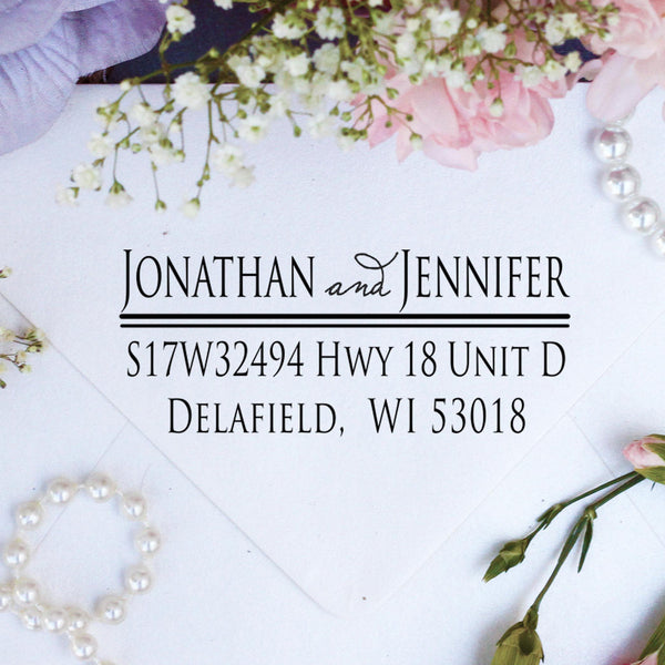 "Return Address Stamp ""Jonathan & Jennifer"""