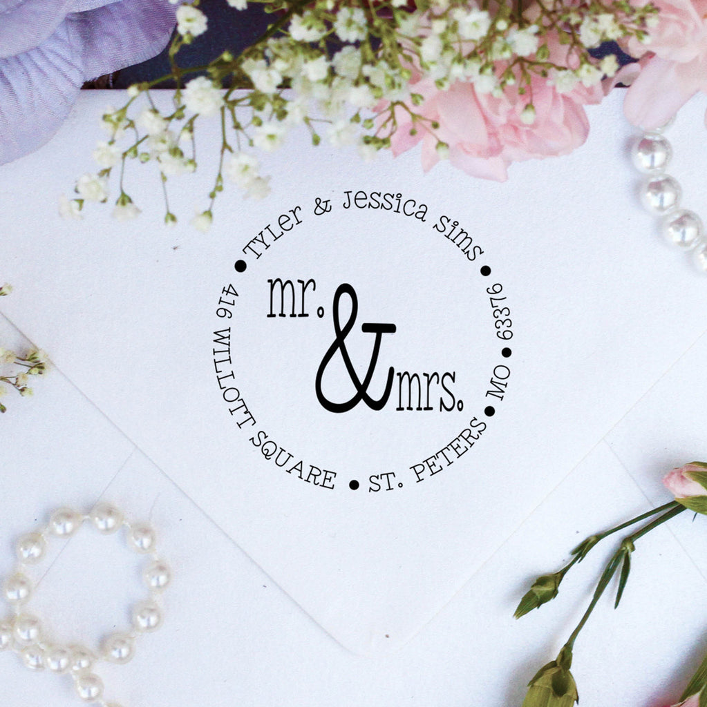 "Return Address Stamp ""Mr. & Mrs."""