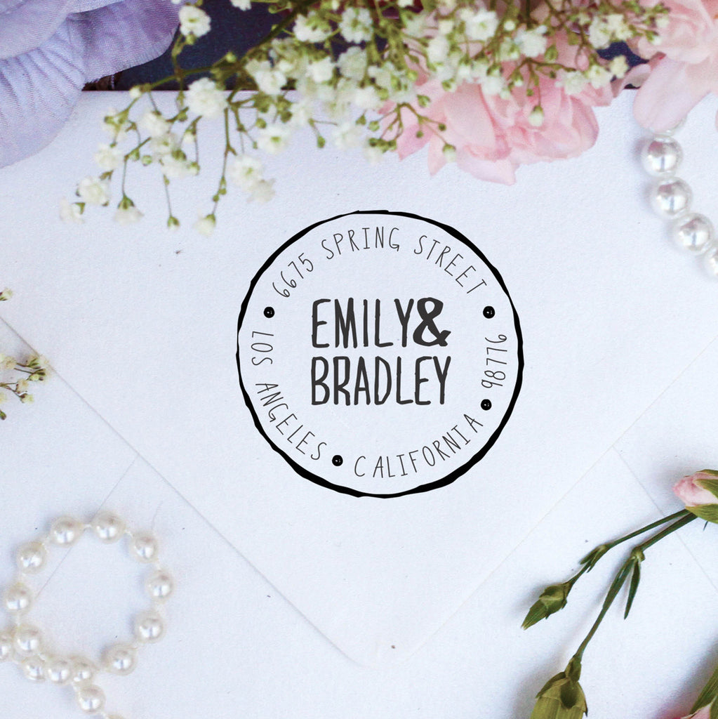 "Return Address Stamp ""Emily & Bradley"""