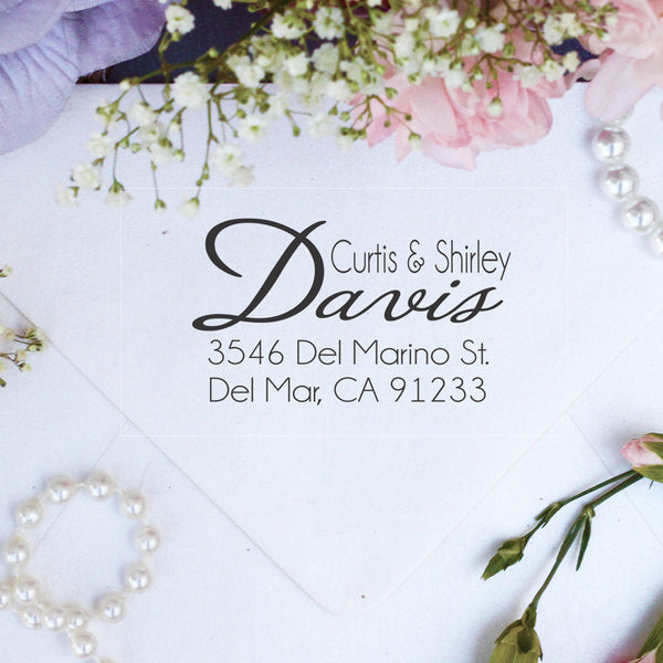 "Return Address Stamp, Custom Stamp, Personalized Stamp ""Davis"""