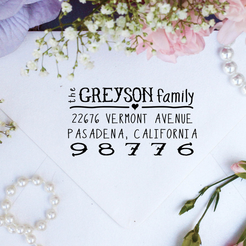 "Return Address Stamp, Custom Stamp, Personalized Address Stamp  ""Greyson"""