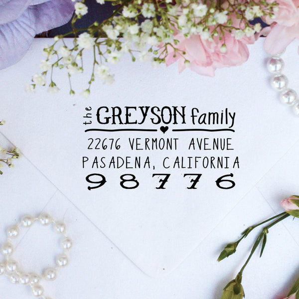 "Return Address Stamp- ""Greyson"""