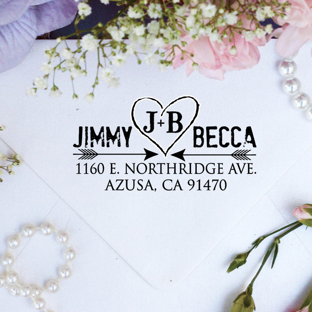 "Return Address Stamp ""Jimmy & Becca"""