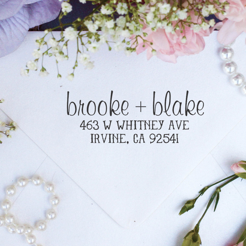 "Return Address Stamp ""Brooke & Blake"""