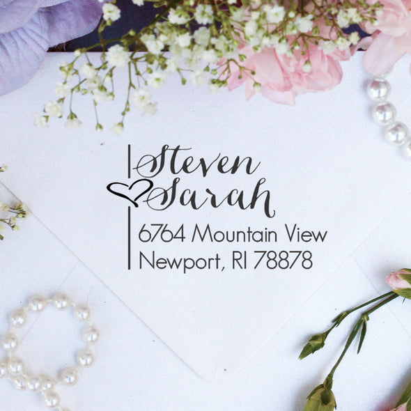 "Return Address Stamp ""Steven & Sarah"""