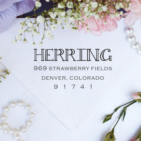 "Return Address Stamp, Custom Stamp, Personalized Stamp ""Herring"""