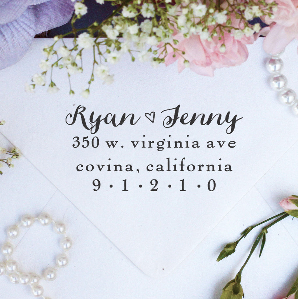 "Return Address Stamp ""Ryan & Jenny"""