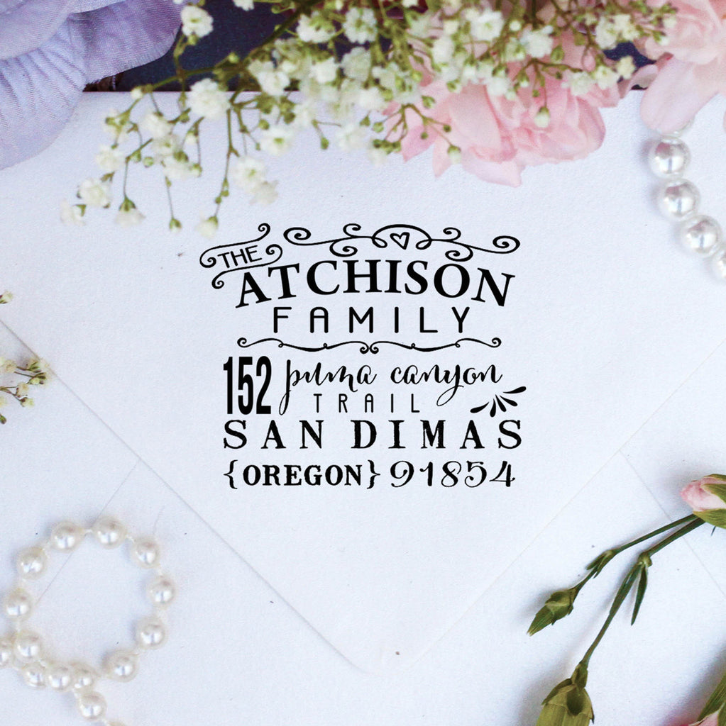 "Return Address Stamp ""Atchison Family"""