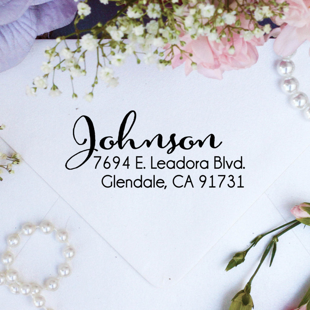 "Return Address Stamp, Custom Stamp, Personalized Stamp ""Johnson"""