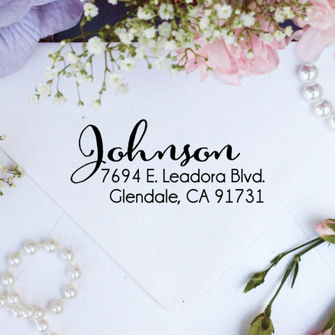 "Return Address Stamp ""Johnson"""