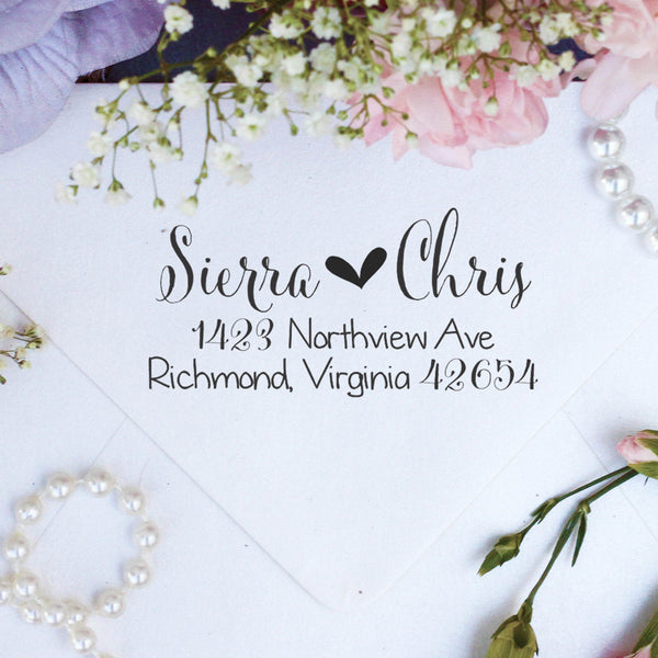 "Return Address Stamp ""Sierra & Chris"""