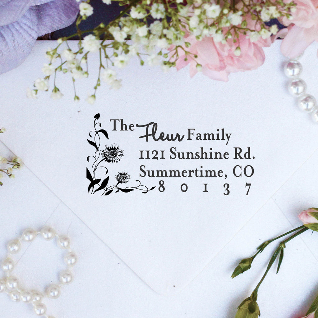 "Return Address Stamp ""Fleur Family"""