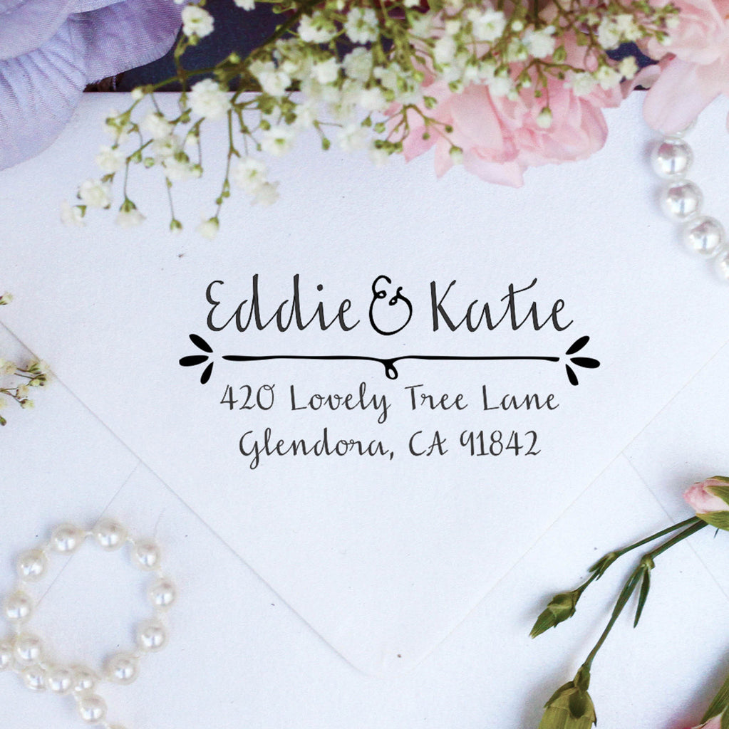 "Return Address Stamp ""Eddie & Katie"""