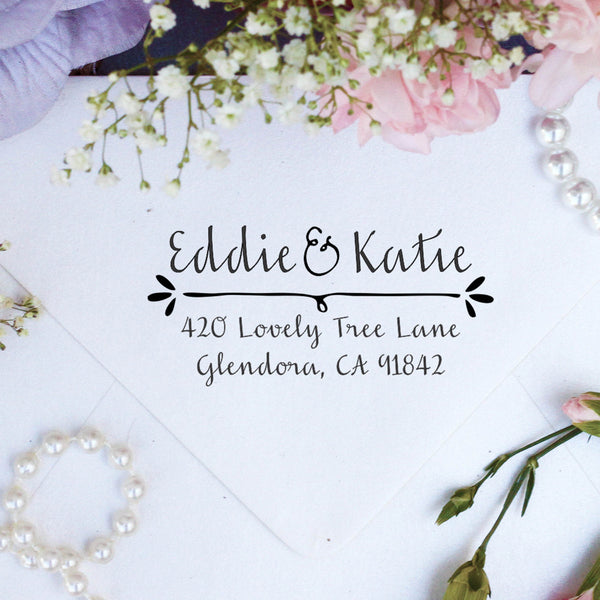 "Return Address Stamp- ""Eddie & Katie"""