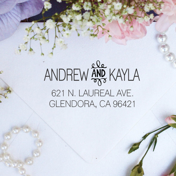 "Return Address Stamp ""Andrew & Kayla"""