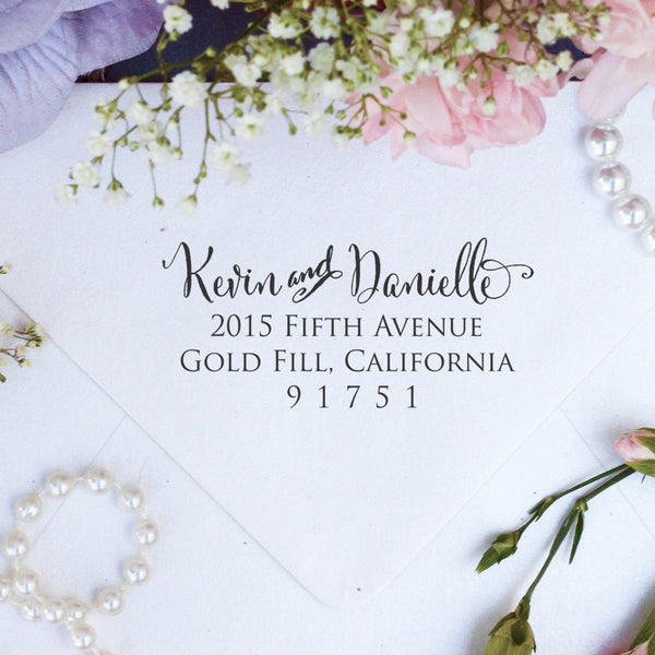 "Return Address Stamp ""Kevin & Danielle"""