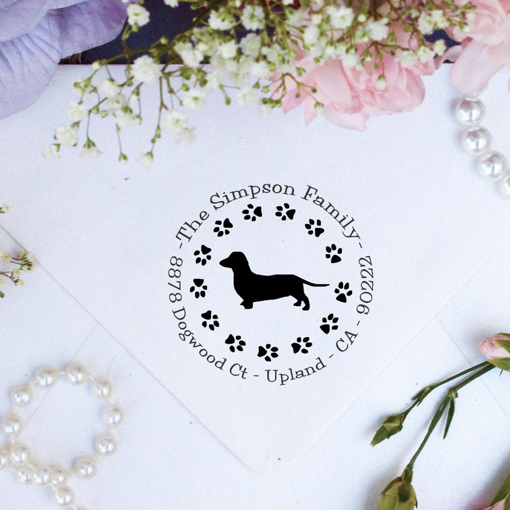 "Return Address Stamp ""Dachshund"""