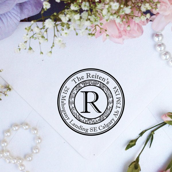 "Return Address Stamp ""Damask Round"""