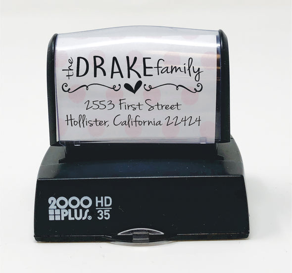 "Return Address Stamp- ""Drake Family"""