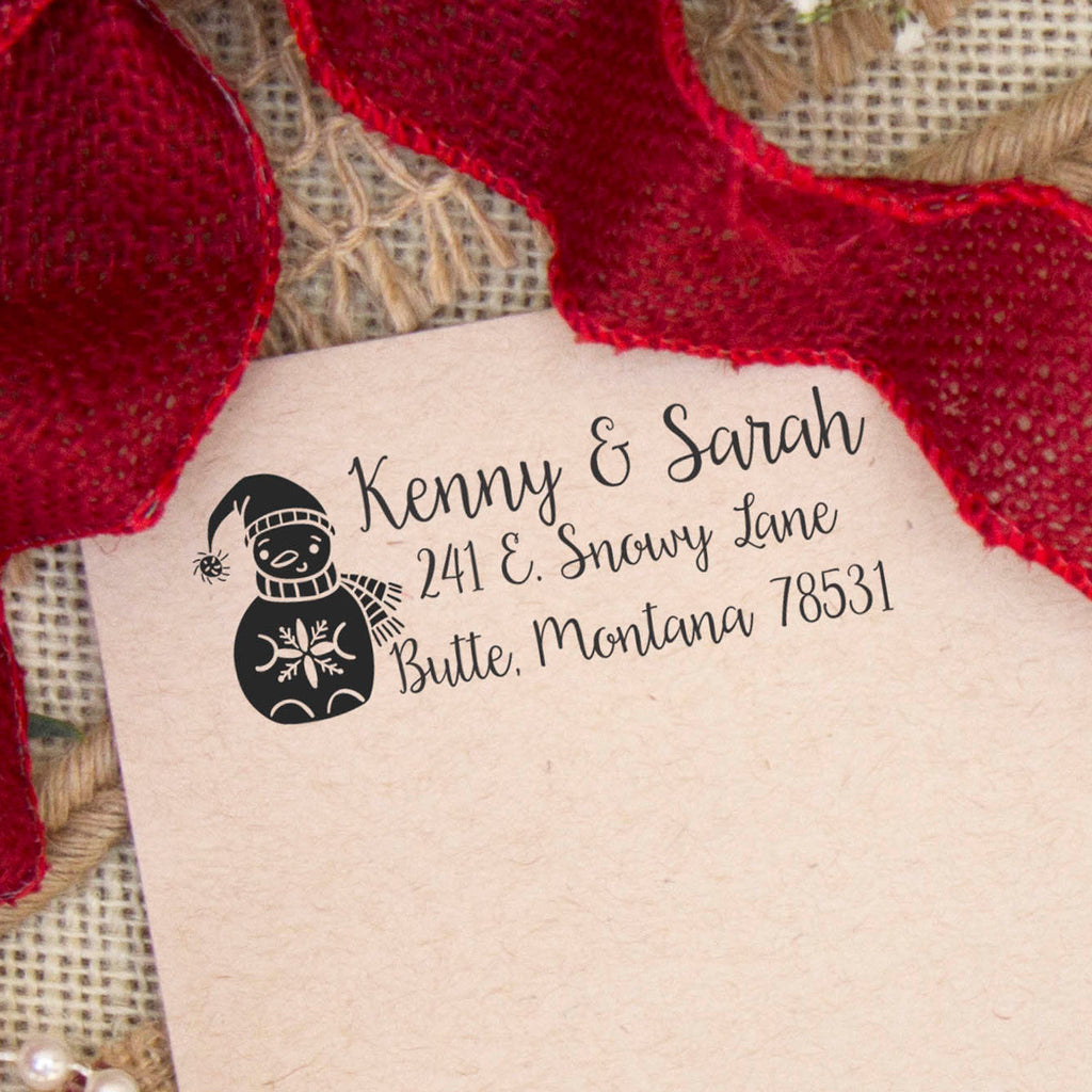 "Return Address Stamp, Snowman ""Kenny & Sarah"""