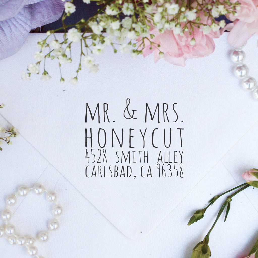 "Return Address Stamp ""Mr & Mrs Honeycut"""