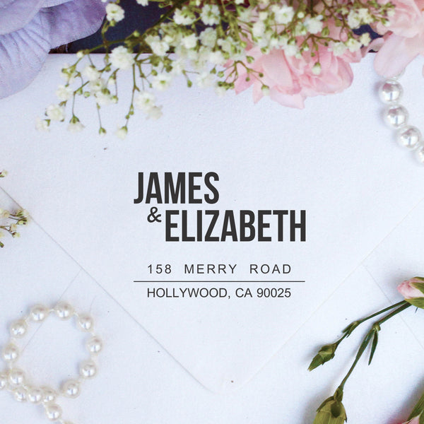 "Return Address Stamp ""James & Elizabeth"""